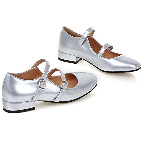 TAOFFEN Women's Fashion Low Heel Mary Jane Shoes Silver p9k7eHa