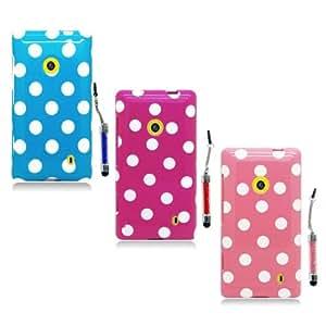BestCool 3 x Silicona Funda /Cáscara/Case Cover /Funda Cubierta/Carcasa /Funda Case para Nokia Lumia 520 Funda de TPU los Puntos Fundas Suaves de la Cubierta de Protector Case ( Rosa Caliente/Rosa /Azul )+3 x Lápiz Stylus de Pantalla Táctil con Tapón Anti Polvo