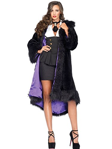 Fur Coat Costumes Halloween (Leg Avenue Women's Faux Fur Coat Costume Accessory, Black/Purple, Small/Medium)
