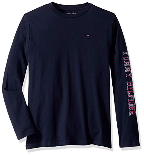 Tommy Hilfiger Boys' Big Dustin-bex Jersey Long Sleeve Tee, Navy Blazer 2, Medium (12/14)