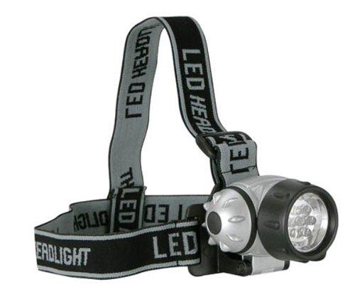 Stirnlampe, Kopflampe aus Kunststoff, mit verstellbarem Kopfriemen und 7 LED's