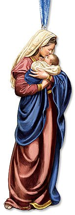A Mother's Kiss Mary with Infant Jesus Resin Statue Christmas Ornament, 5 Inch (Ornaments Religious)