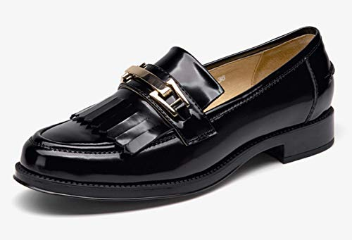 Wind Piccole Single Scarpe Piatto Women Casual New Retro Fu Bocca Superficiale Fondo Lok Pelle Black Shoes Shiney College In C5ZX6wqPnX