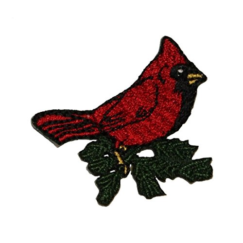 (ID 0597 Cardinal Bird Patch Robin Perching Branch Embroidered Iron On Applique)