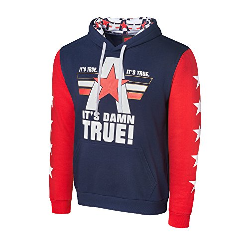 WWE Kurt AngleIts Damn True Varsity Hoodie Navy/Red/White Large by WWE Authentic Wear