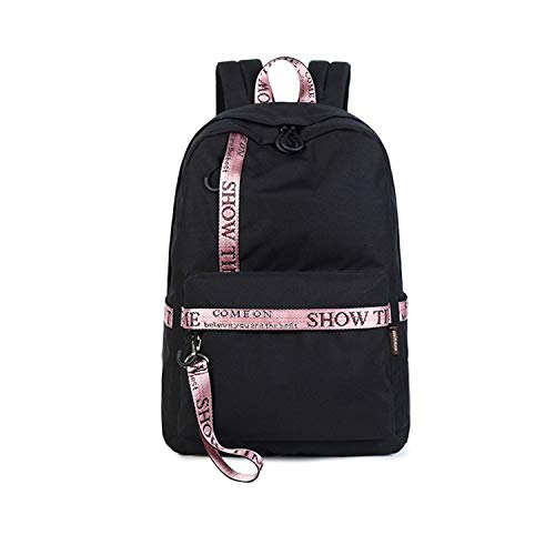 Casual Daily Travel Backpack Women Letter Lovers School Bag for College Girls Laptop Daypack Black with Pink 14 inches