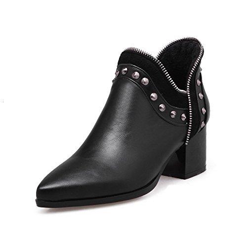 VogueZone009 Damen Ziehen auf Mittler Absatz Eingelegt Knöchel Hohe Stiefel mit Rivet Set, Schwarz, 32