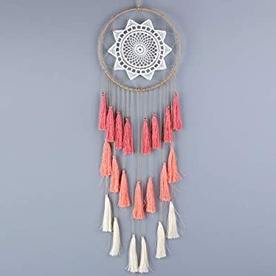 aiPao Dream Catcher - 21inch Long Tassel Dream Catcher - Handmade Dream Catchers Wall Hanging Ornament Home Decor (Mix Pink) - Unique Material: Colorful Tassel, metal circle, hemp rope and petal. Our material fine workmanship and all are processed and screened Dimension: Total length is 21 inch, 8 inch and 0.14 lb are respectively iron circle diameter and dream catcher weight Great gift: With beautiful legend dream catcher is perfect as a gift bring best wishes for friends, lover, family - living-room-decor, living-room, home-decor - 411kzaEeOiL. SS400  -