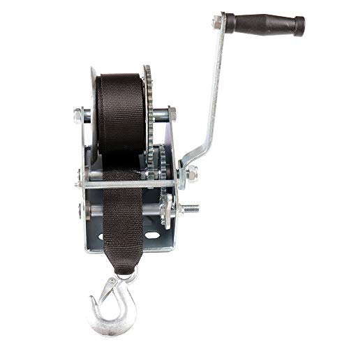 SCITOO Hand Crank Strap Gear Winch 2000 lbs Hand Winches with Nylon Strap for Boat Trailer Auto Manual Lifting Sling Tool
