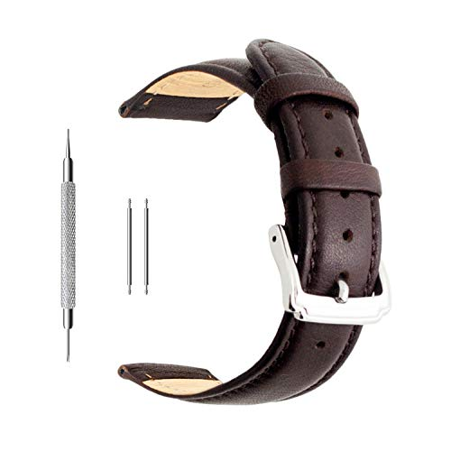 Berfine 22mm Brown Calf Leather Watch Band Replacement,Extra Soft Watch Strap for Men Women (Watch Leather 21 Millimeter Band)