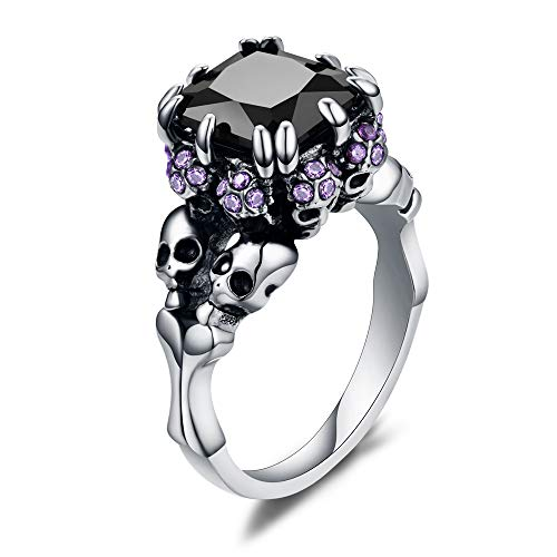 (XIEXIELA Women's Cubic Zirconia Skull Stainless Steel Rings Black Claw Gothic Band Cool Party Jewelry Purple CZ Silver Size 6)