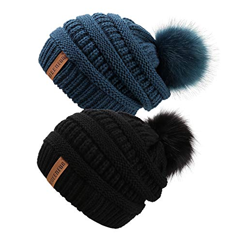QUEENFUR Women Knit Slouchy Beanie Chunky Baggy Hat with Faux Fur Pompom Winter Soft Warm Ski Cap (2 Pcs Black/Teal)