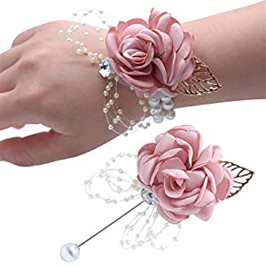 Wedding Wrist Corsage and Boutonniere Set Graduation Party Wrist Flower Corsage Flowers for Wedding 44
