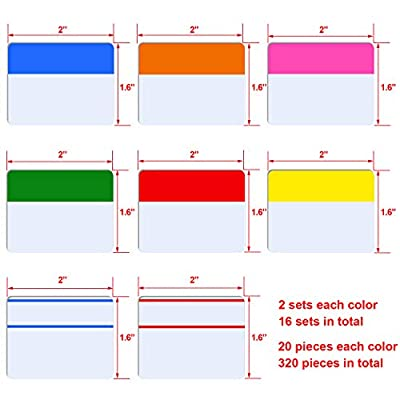 SIQUK 320 Pieces Tabs 2 inch Index Tabs Sticky Page Markers Colored Tape Flag Dispensers for Reading Notes, Books and File Folders, 16 Sets 8 Colors