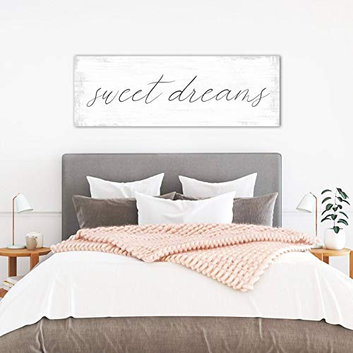 CELYCASY Sweet Dreams Wall Art Above Bed Signs, Sweet Dreams Over The Bed Wall Decor Master Bedroom, Guest Bedroom, Nursery Sweet Dreams Sign