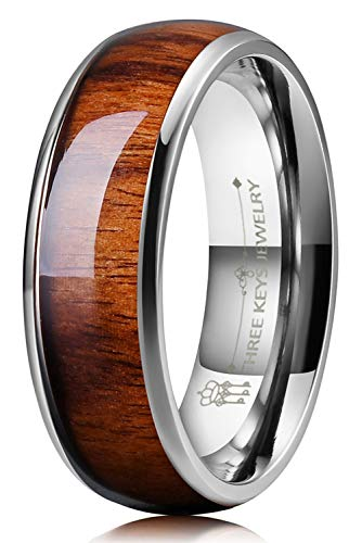 THREE KEYS JEWELRY 8mm Titanium Wedding Band Engagement Ring Silver with Real Santos Rosewood Wood Inlay Comfort Fit Size 10.5