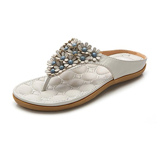 Blue Bohemia Head Amazing Women uk4 Pair 5 Size 1 Simple Round Flat Womens Ladies Blue cn37 color Eu37 Sandals 5 04xz7wFgqz