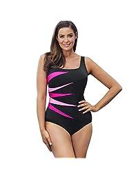 Sunmoot Maxi One Piece Swimwear for Women Striped Plus Size Push-Up Padded Swimwear Bathing Suit