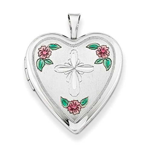 Sterling Silver Cross and Flower Heart Locket Necklace, 18'' by The Men's Jewelry Store (for HER)