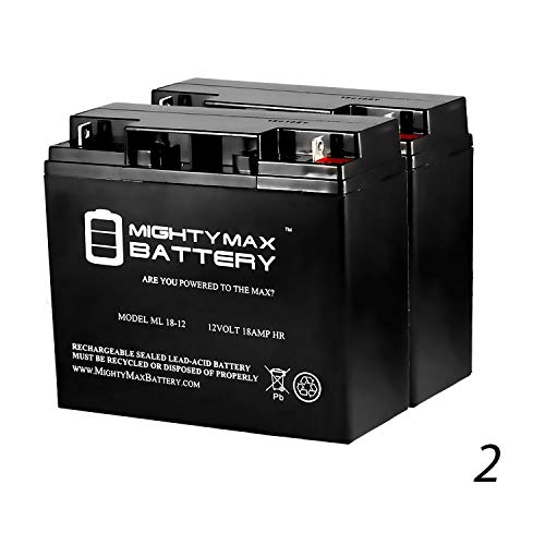 Mighty Max Battery ML18-12 - 12V 18AH Battery Replaces Pride Mobility Go-Go Elite Battery - 2 Pack Brand Product (Mobility Batteries Pride)