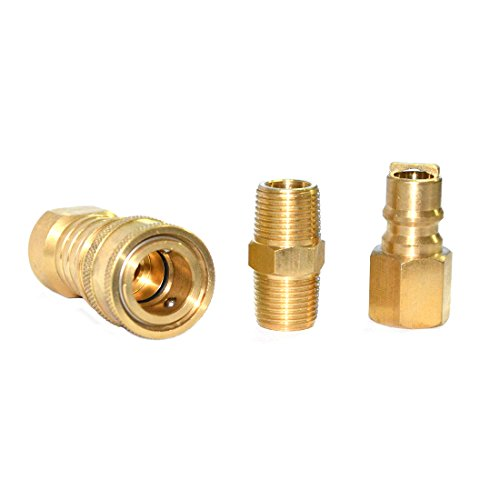 Propane Natural Gas Hose Quick Connect Coupling Fitting Kit for Low Pressure Appliance - 3/8