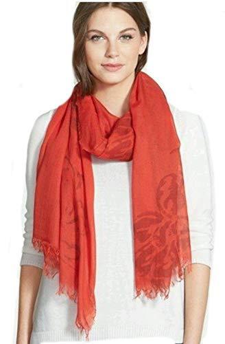Eileen Fisher Italian Printed Floral Modal Cashmere RED POPPY Scarf 27