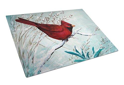 (Caroline's Treasures PJC1110LCB Cardinal Winter Red Bird Glass Cutting Board, Large, Multicolor)