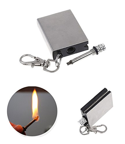 Fenny's Creations Permanent Metal Match Box Lighter With Sticker Military Everlasting Key-ring Gas Refillable