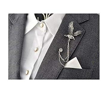 Hombre elegante plata tono águila Cruz cadena de cristal broche ...