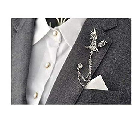 Hombre elegante plata tono águila Cruz cadena de cristal ...