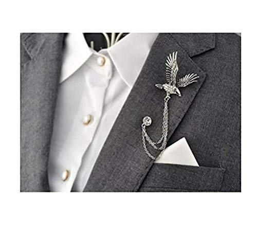 Mens Elegant Silver Tone Eagle Cross Crystal Chain Brooch Pin Lapel Stick for Suit Pin Brooch Badge for Tie Hat Scarf