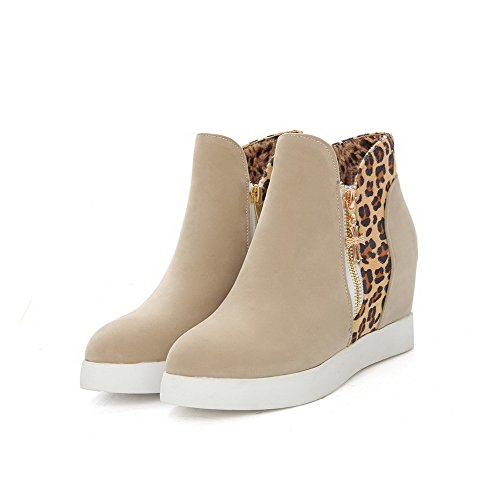 Closed Allhqfashion Boots Toe Color Suede Women's Round Beige Heels High top Assorted Imitated Low qrEFra