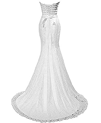 Lily Wedding Womens Lace Mermaid Wedding Dresses For Bride 2018 Long Formal Prom Bridal Ball Gowns FWD001