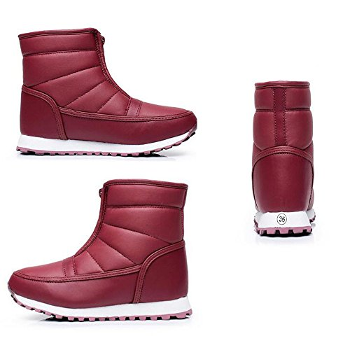 up Waterproof Zip SHOPPING Fur Walking Boots Snow Winter Women's Hiking Rain Warm Lining Red HAPPYLIVE Wine Winter Cozy 0qwPd0