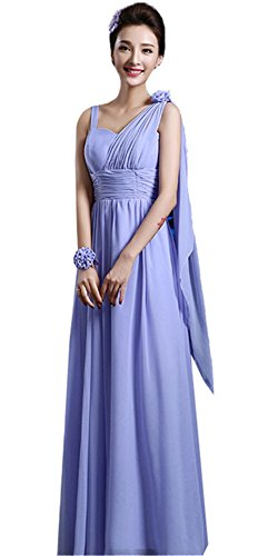 SiYuan Purple Women's Elegant Floral Lace Halter Bridesmaid