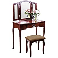 Harper & Bright Designs Vanity Set Make-up Dressing Table with Mirror and Cushioned Stool (brown)