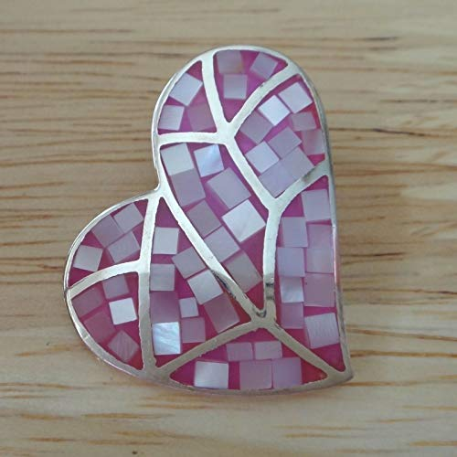 Sterling Silver 28x24mm Pink Mother Pearl Heart Pendant Charm Hidden Bale Slide Jewelry Making Supply, Pendant, Sterling Charm, Bracelet, Beads, DIY Crafting and Other by Wholesale Charms