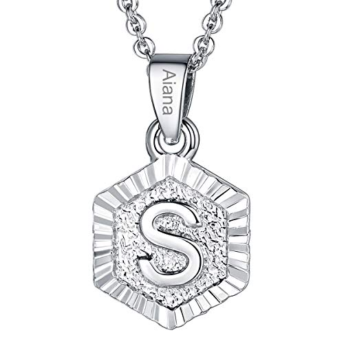 (Custom Name Necklace A-Z 26 Letters Pendants Platinum Plated Hexagon Script Monogram Initial Jewelry Stainless Steel 20 Inch Chain, Capital Alphabet Personalized Gifts for Women Girls (Letter S))