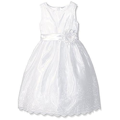 American Princess Big Girls' Embroidered Organza Dress, White, 10