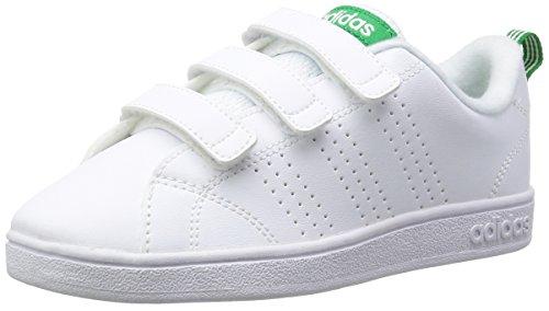 adidas Unisex-Kinder Vs Advantage Clean CMF Sneaker Weiß (Footwear White/footwear White/green 0)