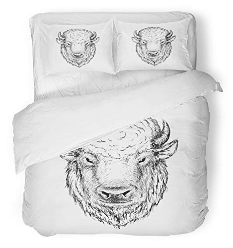 (Emvency 3 Piece Duvet Cover Set Breathable Brushed Microfiber Fabric Cow Head of Buffalo Face Bison Bull Graphic Sketch Ink Drawn Drawing American Animal Bedding with 2 Pillow Covers Full/Queen Size)