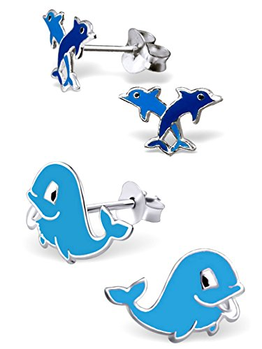 925 Sterling Silver Hypoallergenic Set of 2 Pairs Dolphins & Whale Stud Earrings for Girls and Women (Nickel Free) 20787