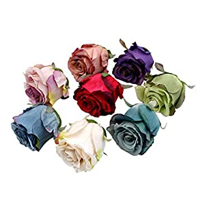 LIOOBO 24pcs Simulation Artificial Flowers Silk Flowers Artificial Rose Bouquet for Home Bridal Wedding Party Festival Decor (Randow Color) 94