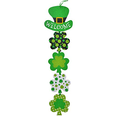 Lucky St Patricks Day Shamrock Glitter Hanging Door Plaque Sign with Leprechaun Welcome Hat - Vertical Dangling Irish Clover Home Decor - Saint Paddys Wall Decoration