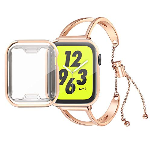 KoudHug Bracelet Compatible Apple Watch Band 38mm 40mm 42mm 44mm with Case iWatch Series 4/3/2/1, Women Stainless Steel Cuff Wristband with Apple Watch Screen Protector (Rose Gold, 42mm Band/Case)
