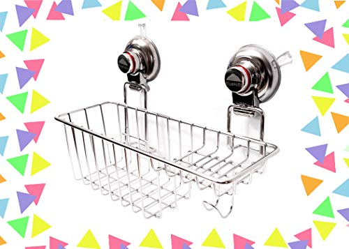 BlueHills Super Strong Premium Rust Proof Stainless-Steel Metal Suction Cup for Bathroom Kitchen Large Caddy, Soap Shampoo Makeup Spice Suction Cup Kitchen Caddy Organizer with Hooks, C002 ()