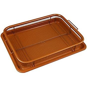Deluxe Copper Crisper - 2-Pieces Nonstick Oven Air Fryer Pan / Tray & Mesh Basket Set - Air Fryer in Oven - Ideal for French Fry - Frozen Food , Baking Sheet without Oil by WHG
