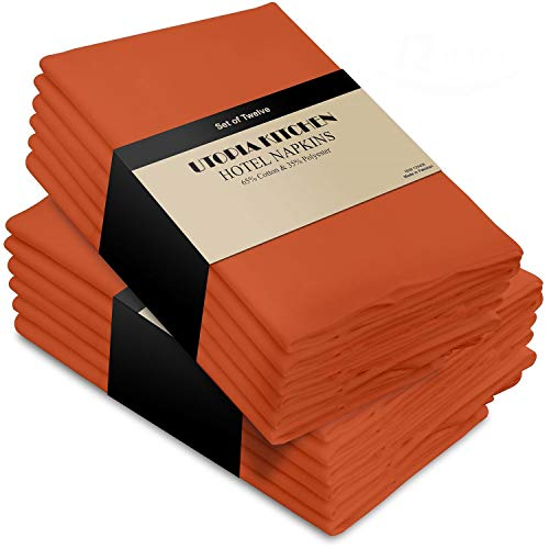 Utopia Kitchen Cotton Dinner Napkins 12 Pack (18 inches x 18 inches) - Soft and Comfortable - Durable Hotel Quality - Ideal for Events and Regular Home Use (Orange) ()