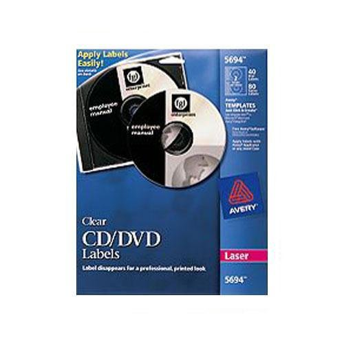 Avery Dennison 5694 Laser CD/DVD Labels, Glossy Clear, (Clear Laser Cd Label)