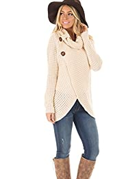 Womens Lightweight Knitted Sweater High Neck Pullover Wrap Cardigan